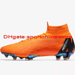 Wholesale Elite Football Boots - 2018 top quality mens soccer cleats MERCURIAL SUPERFLY 360 ELITE FG kids soccer shoes boys football boots Cheap high ankle scarpe da calcio
