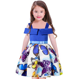 Wholesale Formal Dresses For Toddlers - Baby Girl Princess Birthday Party Dress for Girls 2018 Kids betterfly printed Sleeveless Dresses for Toddler Girl Children Constume