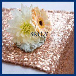 Wholesale Rose Table Runners - RU017E Nice glitter beaded metallic sequence 12''*108'' rose gold sequin table runner