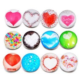Wholesale Beautiful Glass Beads - 10pcs lot New Glass Snap Jewelry Mixed Beautiful Heart Pattern 18mm Glass Snap Buttons For DIY Snap Bracelet Valentine's Day