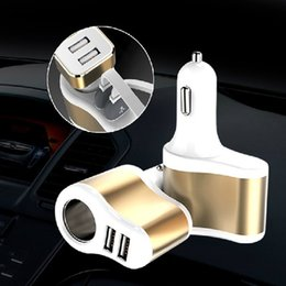 Wholesale Car Mobile Charger - 5V2A dual USB cigar car charger multifunctional intelligent vehicle charging mobile phone charger free shipping high quality