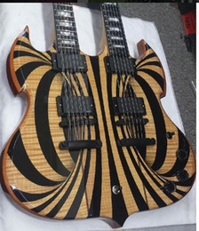Cuello para guitarra de 12 cuerdas online-Custom Wylde Audio Barbarian 12 6 cuerdas Doble Cuello Gloss Black Behemoth SG Guitarra Eléctrica Copy EMG Pickups, Black Hardware