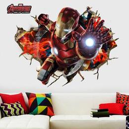 1pc The Avengers Alliance bambini parete muro di ferro uomo sfondo muro adesivi murali impermeabili in vendita all'ingrosso A020 vendere come le torte calde da