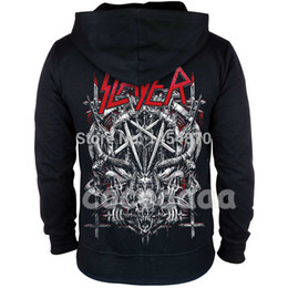 Metall schädel gold online-10 Designs Slayer Cotton weichen Rock Hoodies Shell Jacke punk Heavy Metal Reißverschluss Sweatshirt Fleece Sudadera Skull Trainingsanzug