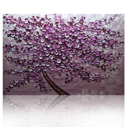 Wholesale Knife Oil Paintings - KG Purple Tree Textured Knife Paintings Abstract Wall Painting Impasto Acrylic Handmade Canvas Maple Leaves Art Oil Painting Home Decoration