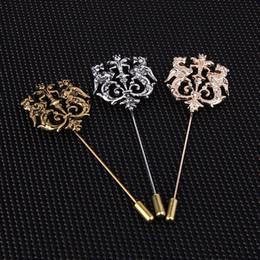 2019 joyas de plata Bronce Oro Plata Tono Clásico Hueco Doble León Solapa Alfileres Para Hombres Accesorios de traje Palo Broche Alfileres Boda Fiesta Joyería rebajas joyas de plata