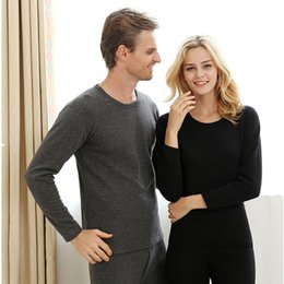Wholesale Velvet Nightgowns - Winter New Round Collar Plus Velvet Thickening Thermal Underwear Sets Of Winter Men And Women Cotton Keep Warm Large Sizes