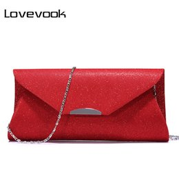 Wholesale grey sequined evening dress - LOVEVOOK women evening clutches bag female fashion solid handbags ladies envelope soft purse for party with chains and sequined