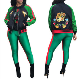 Wholesale Polyester Embroidery Thread Sale - 2017 Hot Sale Long Sleeve Stereoscopic Embroidery Bee Jacket Women Tiger Jacket Coat Casual Thread Splicing Baseball Jacket CL366