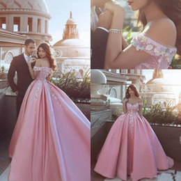 pear flower Coupons - 2019 Dubai Elegant Pink Ball Gowns Quinceanera Dresses Off The Shoulder Satin Handmade Flowers Beads Elegant Prom Formal Gowns