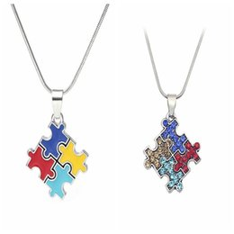 Wholesale Jigsaw Puzzle Wholesalers - Autism Awareness Jigsaw Necklace Multicolor Crystal Puzzle Piece Pendant Necklace Jewelry for kids Men Women