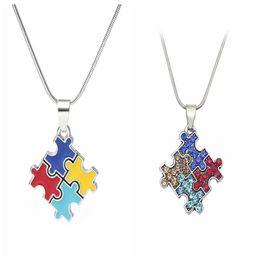 Wholesale Puzzles Jigsaws - Autism Awareness Jigsaw Necklace Multicolor Crystal Puzzle Piece Pendant Necklace Jewelry for kids Men Women