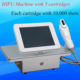 Wholesale ultrasound facial rejuvenation - Professional high intensity focused ultrasound home use hifu face lifting machine facial rejuvenation with 5 cartridges 10,000 shots each