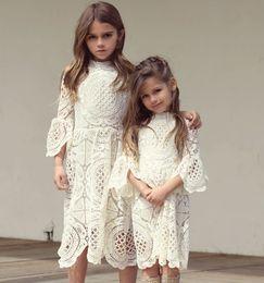Wholesale Long Day Dresses Summer - Girls Lace Dress Trumpet Sleeves Princess Dress Long Children's Clothes