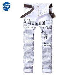 Wholesale White Stretch Jeans Mens - New Brand Fashion Stretch Mens Jeans White Letters Printing Jeans Men Casual Slim Fit Trousers Denim Printed Pants