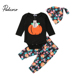 Детский роман онлайн-Pudcoco 2018 New Tollder Kid Baby Clothing Halloween Baby Boys Girls Pumpkin Tops Romper Pants Hat Outfit Set Clothes novel CX