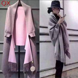Ponchos vintage online-SC2 2017 de gran tamaño doble lado bufanda de invierno de imitación de cachemira poncho mujeres diseñador sólido de manga larga del abrigo de la vendimia chal Y18102010