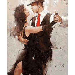 Çerçevesiz Tango Dancer Sayılar Tarafından Diy Boyama Rakam Boyama Modern Duvar Sanat Tuval Ev Dekorasyon Için Benzersiz Hediye 40x50 cm cheap modern dancer painting nereden modern dansçı boyama tedarikçiler
