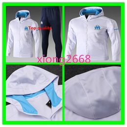 Wholesale hat kits - Top quality Olympique Marseille Tracksuit jacket with hat Top quality 2017 2018 GOMIS CABELLA PAYET SANSON 17 training jacket kit