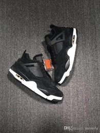 Wholesale pvc transparent - New Arrival Air J 4 Black Suede basketball Shoes J 4 Banned Crystal transparent sole sports shoes size 7-13