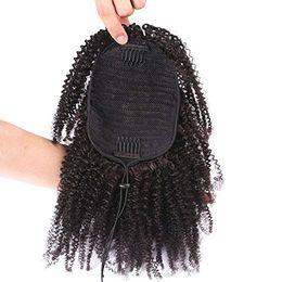 Niedrige reine haare online-Jet black 3c 4b afro kinky lockiges reines haar pferdeschwanz für schwarze frauen niedrige natürliche menschenhaar pferdeschwanz 120g