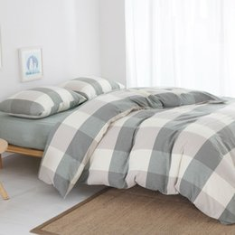 Wholesale King Size Bedspreads Red - washed cotton big plaid 4 piece bedding sets king size duvet cover 1.8m twin bedspread bed set free shipping