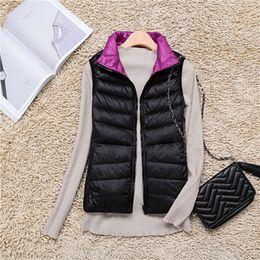 Wholesale Reversible Down Jacket - BONJEAN Women duck down Vest Reversible two side wear Light short Down Vest sleeveless jacket autumn winter coat waistcoat
