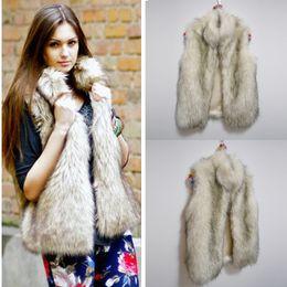 115686ed55dd2 2018 Plus Size 6XL Fur Hood Vest Women Faux Fox Fur Vest Striped Long Fur  Gilet ...