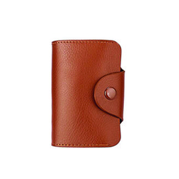 Wholesale Leather Business Card Wallet Price - Low-priced Men Women Genuine Leather Credit Card Holder Case Unisex Fashion ID Holder Wallet Business Card Package Bag 15 Slots Wallet