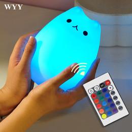 bebê luz recarregável bebê Desconto Gato dos desenhos animados wyy LED Night Light remoto do sensor de toque Coloful Silicone USB recarregável Quarto cabeceira Abajur para crianças Baby Gift Crianças
