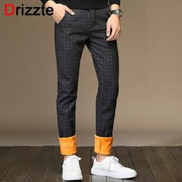 Wholesale plaid flannel pants - Drizzte Mens Pants Sanded Fleece Pants Flannel Lined Black Grey Dress Trousers Casual Plaid Slacks for Winter