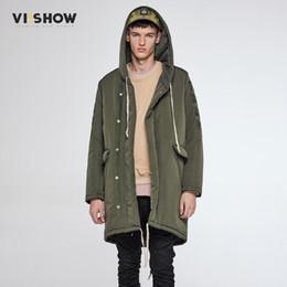 2019 куртка вишоу Бренд VIISHOW новый зима мужчины куртка свободного покроя теплый с длинным Armygreen пальто Мужские пиджаки куртка пальто ветрозащитная с капюшоном куртка мужчины MC37564 скидка куртка вишоу
