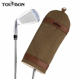 Wholesale Leather Carrier - Wholesale-Tourbon Vintage Golf Clubs Carrier Protector Pencil Style Canvas & Leather Fleece Padded Interlayer Cover 23CM