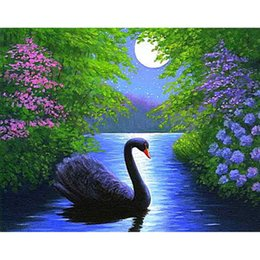 Wholesale Cross Stitch Kit Swans - Blue Swan in the Water 5D DIY Mosaic Needlework Diamond Painting Embroidery Cross Stitch Craft Kit Wall Home Hanging Decor