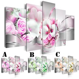 Wholesale rose wall art - Wall Art Picture Printed Oil Painting on Canvas No Frame Multi-picture Combination 5pcs set Home Decor Extra Mirror Border Rose and Callas