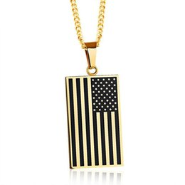Wholesale Freedom Alloys - American Flag USA Patriot Freedom Stars and Stripes Pendant Necklace Gift Men Jewelry Sliver Gold Color Stainless Steel
