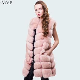 Wholesale Long Faux Fur Vest White - Faux Fur Coat Women Winter 2017 Hooded Fur Coat Warm Thick Faux Vest Waistcoat Front Open Sleeveless Striped Long Coats