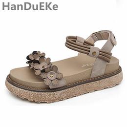 Wholesale Flower Tie Backs - Fashion Platform Women Shoes 2017 New Style Sandals Women Big Size 34-43 Flower Platform Sandals Ladies Khaki Shoes For Summer