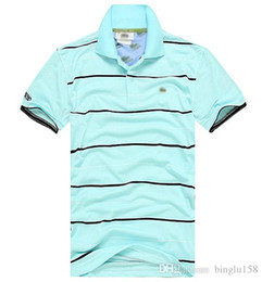 Wholesale black yellow stripe shirt - Embroidered brand Stripe polo shirt Solid Cotton Men Short Sleeve Crocodile POLO Shirt Summer Wear Lapel