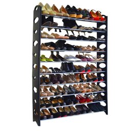 Wholesale Metal Shelfs - 10-Tier Shoe Rack For 50 Pair Wall Bench Shelf Closet Organizer Storage Box Stand