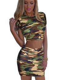 Wholesale Girls Clubbing Clothes - Camouflage Women's set short top and skirt lady mini shirt pencil skirts girl summer clothing party club sexy set