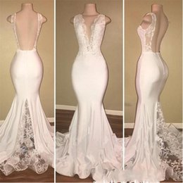 Wholesale White Ivory Maternity Dresses - Sexy Deep V Neck Mermaid Prom Dresses Long Lace Backless Evening Dress With Lace Appliques Cheap Cocktail Party Gowns Vestidos