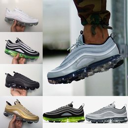 Wholesale Men S Soccer Shoes - 2018 Newest Vapormax 97 97s Running Shoes For Mens Silver Gold Bullet Triple s white balck Japan Sports Trainers Sneakers size 41-45