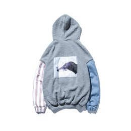 Wholesale Velvet Puppy - 2018Autumn And Winter New Fashion Trend Youth Hooded Velvet Puppy Male Thickening Lambs Wool Spell Color Cotton Clothing