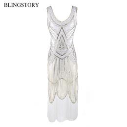Wholesale White Flapper - BLINGSTORY Vintage 1920s Tassel Great Gatsby Dress Women Sequined V Neck Beaded Sequined Art Deco Flapper Dress WZD001
