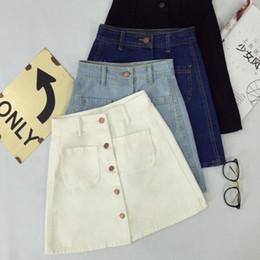 6cb2721f61c92 2018 Summer Womens Ladies A-line Pencil Denim Skirt High Waist Jeans Pockets  Skirt Black White High Quality