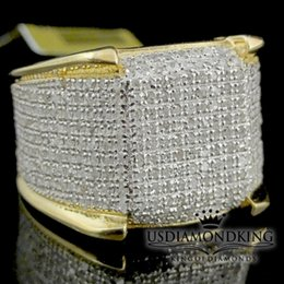 Wholesale eternity ring bands - Men's 10k Yellow Gold 1.50ct Genuine Real Diamond Iced Pinky Ring Eternity Band