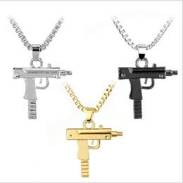 Wholesale Wholesale Hip Hop Jewelry - gold Pendants Necklace 2018 HOT Hip Hop Necklaces Engraved Gun Shape Uzi Golden Pendant High Quality Chain Popular Fashion Jewelry wholesale