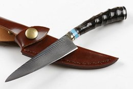 Wholesale Damascus Steel Kitchen - 2018 New Damascus Survival Straight Knife Horn handle Outdoor Camping Hunting Fixed Blade Knives Kitchen Knife With Kydex