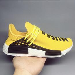 1c0fab4c5 2019 Human Race 1.0 Mens Designer Shoes HU Runner Pharrell Williams Yellow  Core Black Running Shoes Men Women Sneakers 36-45 Without Box